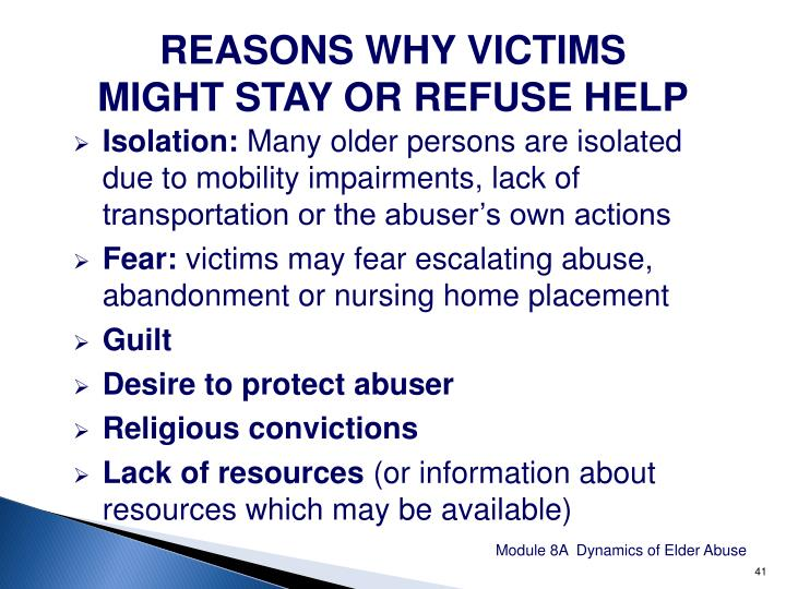 REASONS WHY VICTIMS