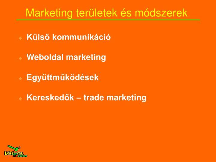 Marketing területek és módszerek
