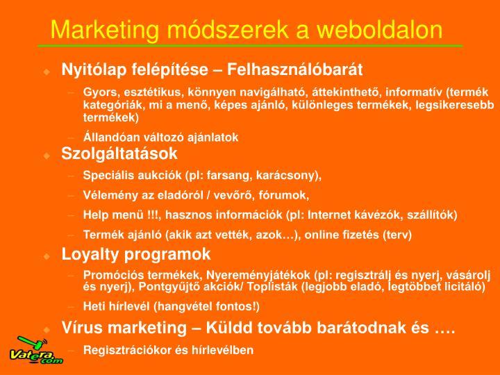 Marketing módszerek a weboldalon