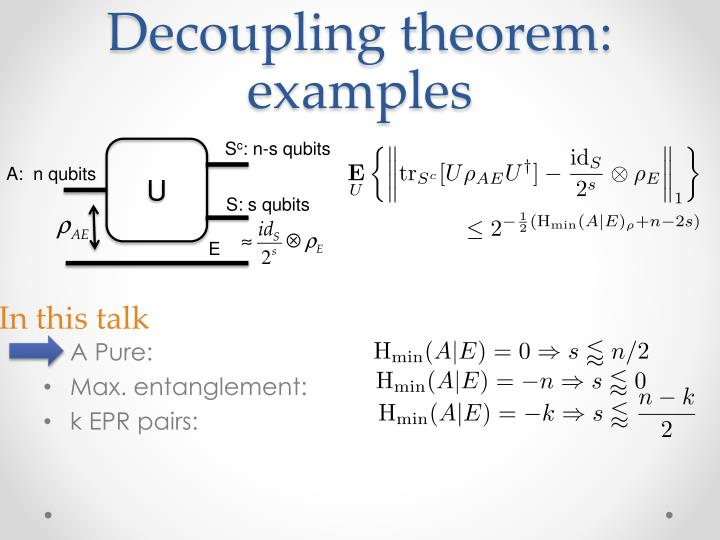 Decoupling theorem: examples