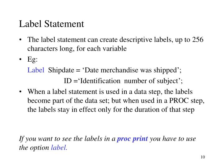 Label Statement