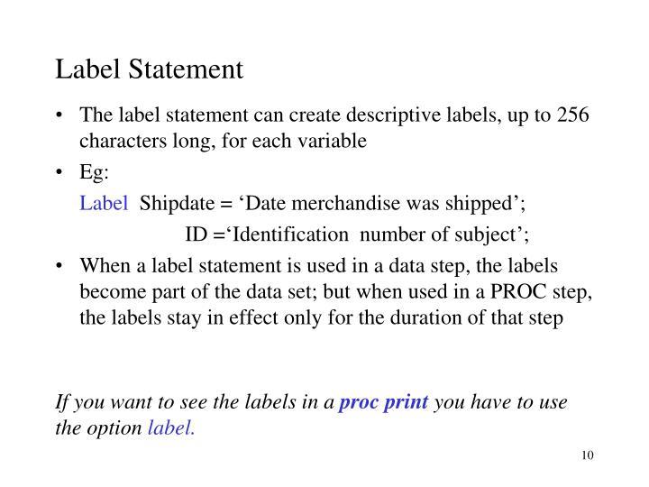 Label Statement