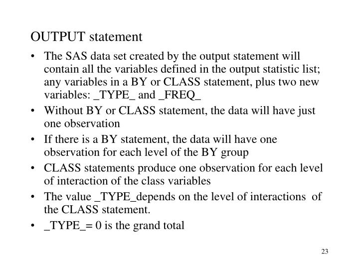 OUTPUT statement