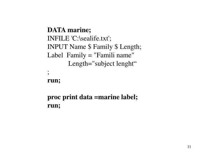DATA marine;