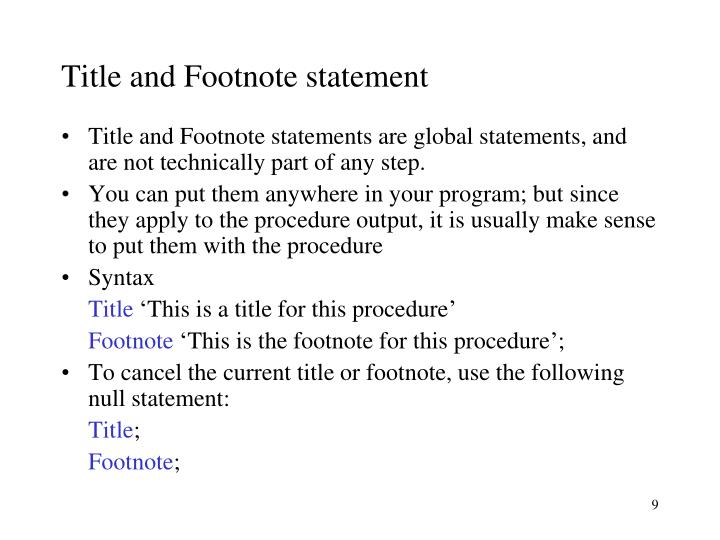 Title and Footnote statement