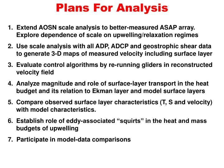 Plans For Analysis