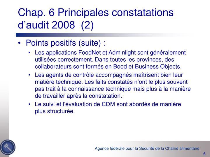 Chap. 6 Principales constatations d'audit 2008  (2)