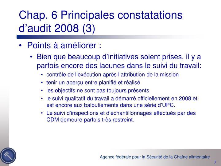 Chap. 6 Principales constatations d'audit 2008 (3)