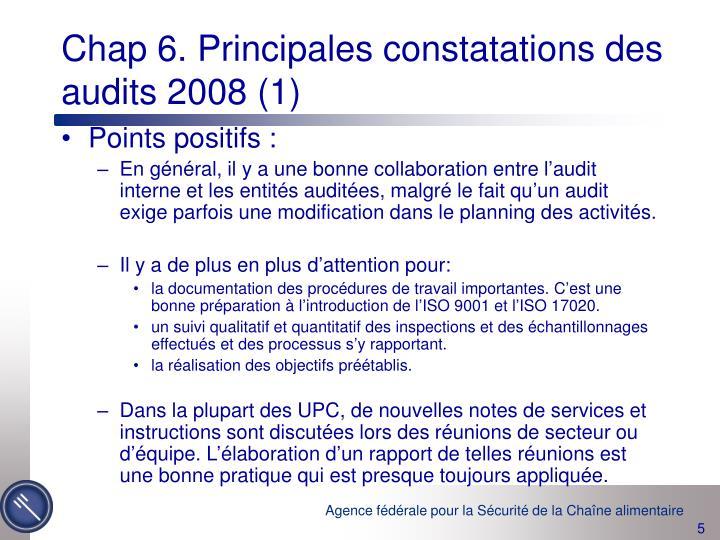 Chap 6. Principales constatations des audits 2008 (1)