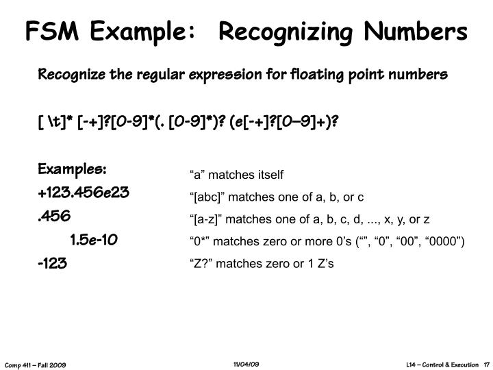 FSM Example:  Recognizing Numbers