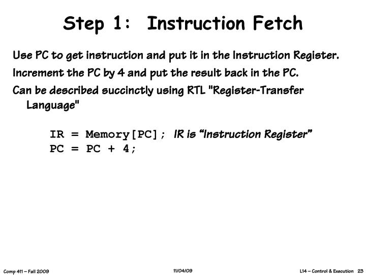 Step 1:  Instruction Fetch