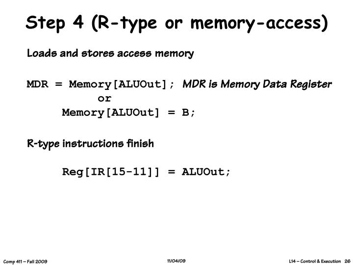 Step 4 (R-type or memory-access)