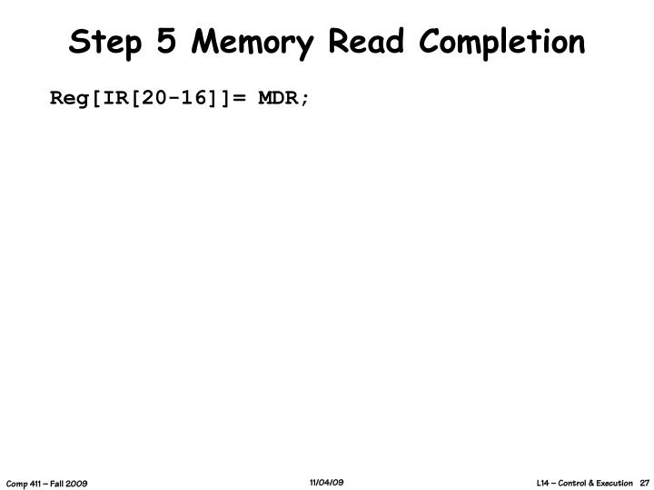 Step 5 Memory Read Completion