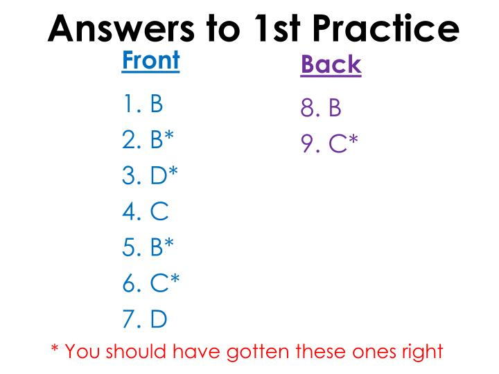 Answers to 1st Practice