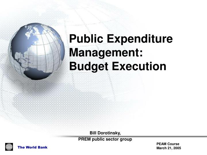 Public expenditure management budget execution