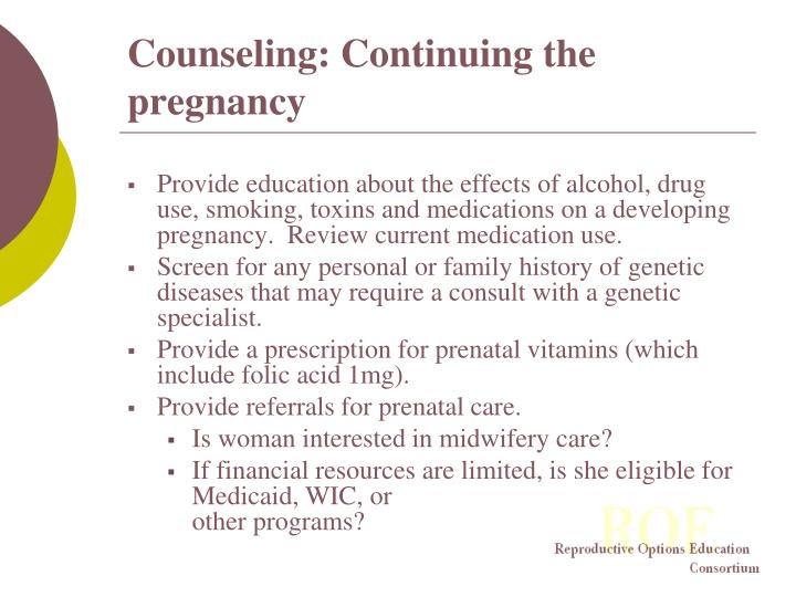 Counseling: Continuing the pregnancy