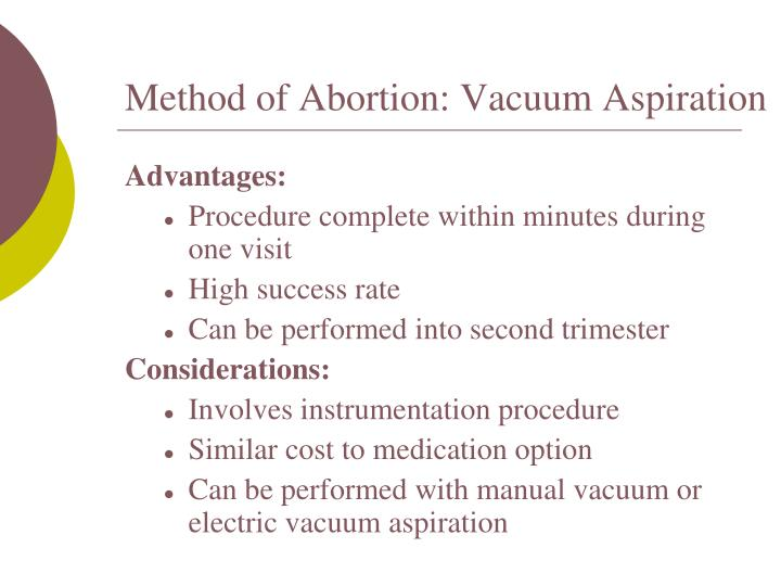 Method of Abortion: Vacuum Aspiration
