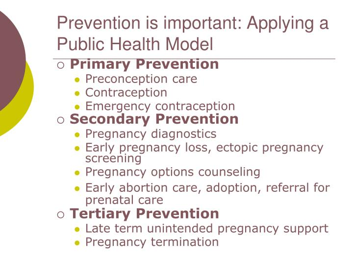 Prevention is important: Applying a Public Health Model