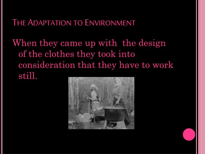 The Adaptation to Environment