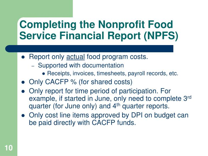 Completing the Nonprofit Food Service Financial Report (NPFS)