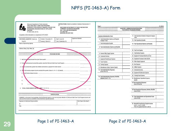 NPFS (PI-1463-A) Form