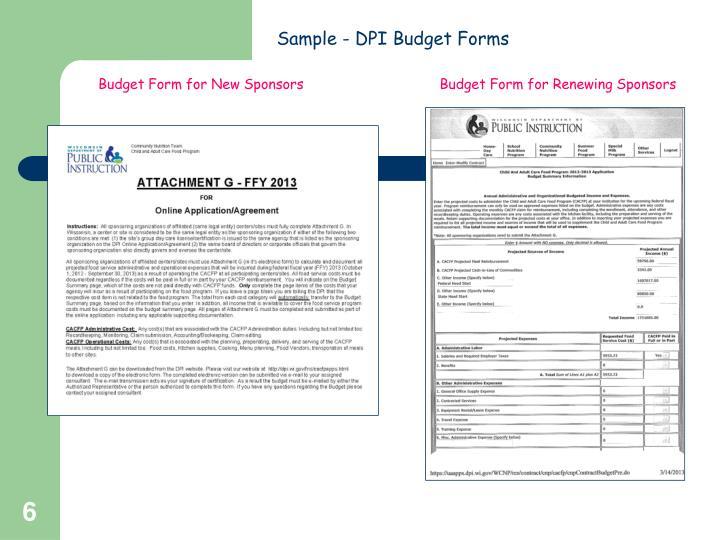 Sample - DPI Budget Forms