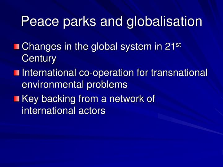 Peace parks and globalisation
