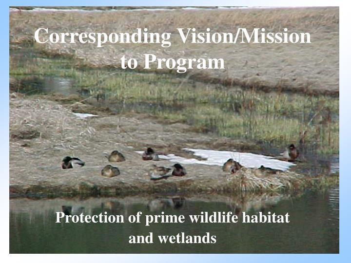 Corresponding Vision/Mission to Program