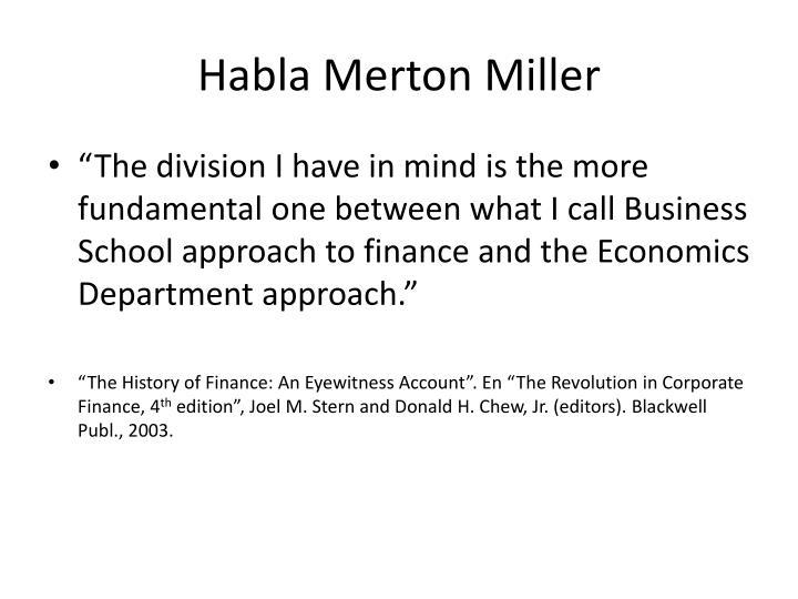 Habla Merton Miller