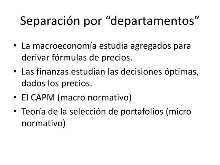 """Separación por """"departamentos"""""""