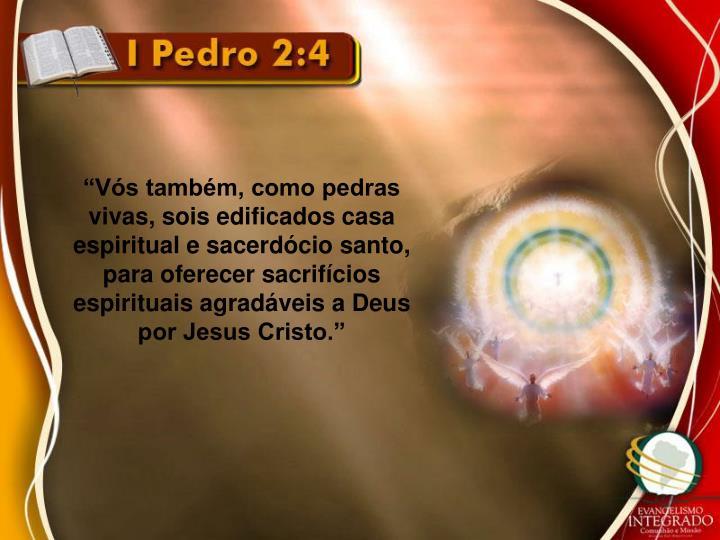"""""""Vós também, como pedras vivas, sois edificados casa espiritual e sacerdócio santo, para oferecer sacrifícios espirituais agradáveis a Deus por Jesus Cristo."""""""