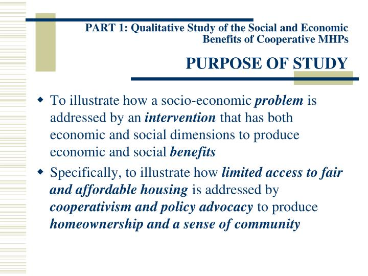 PART 1: Qualitative Study of the Social and Economic Benefits of Cooperative MHPs