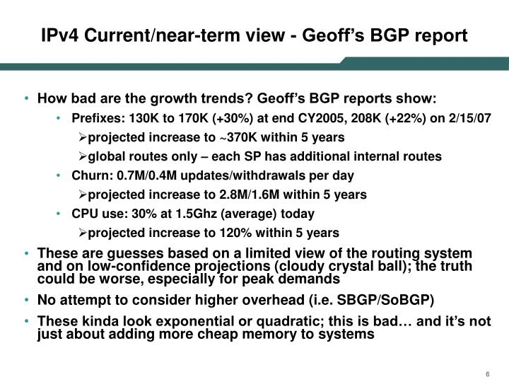 IPv4 Current/near-term view - Geoff's BGP report