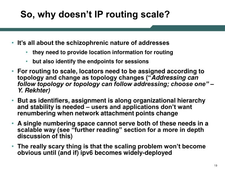 So, why doesn't IP routing scale?