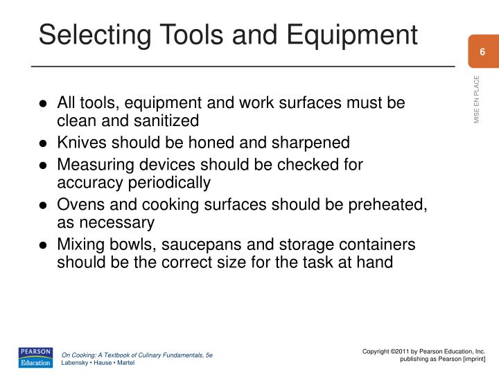 Selecting Tools and Equipment