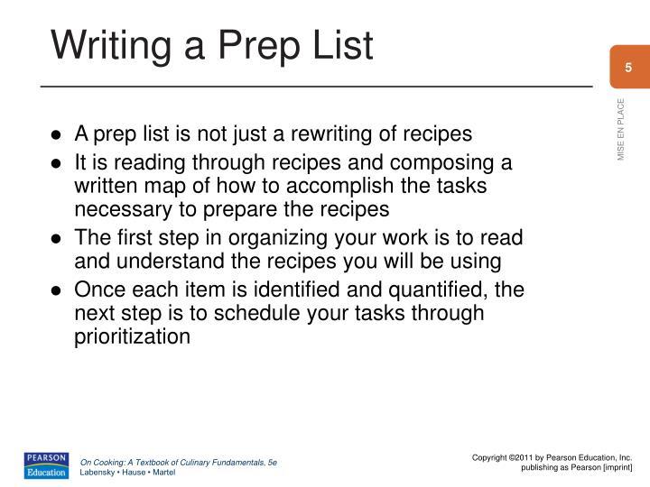 Writing a Prep List