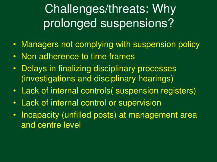 Managers not complying with suspension policy