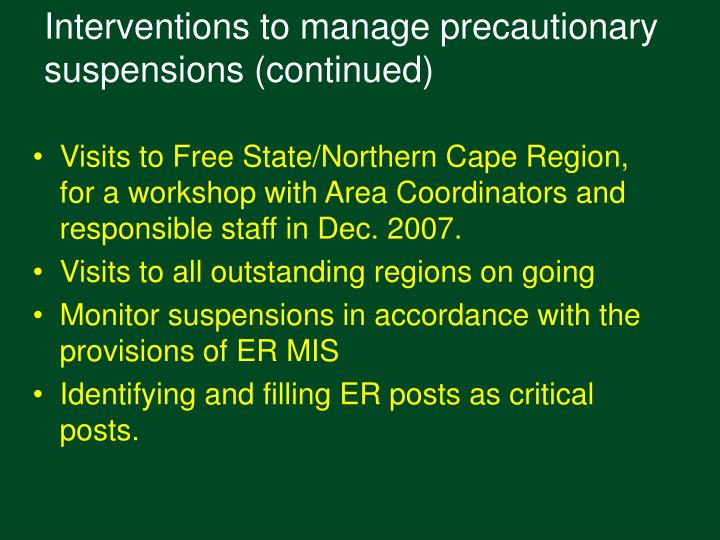 Interventions to manage precautionary suspensions (continued)