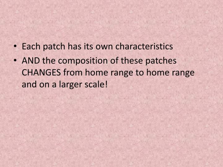 Each patch has its own characteristics