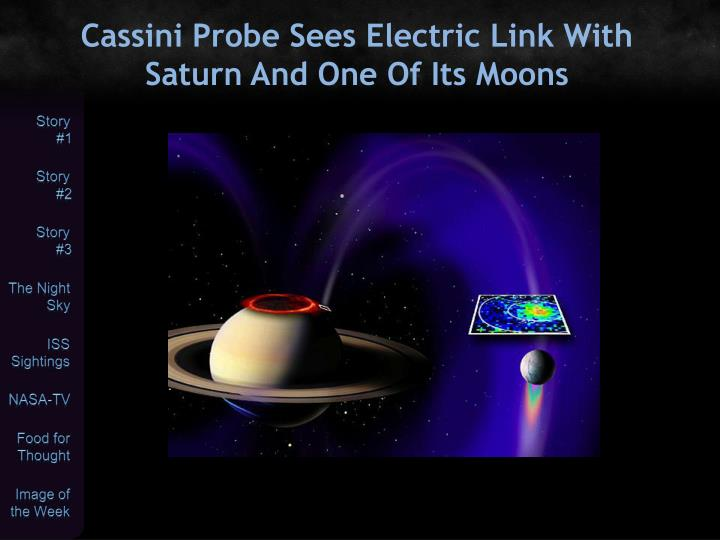 Cassini Probe Sees Electric Link With Saturn And One Of Its Moons