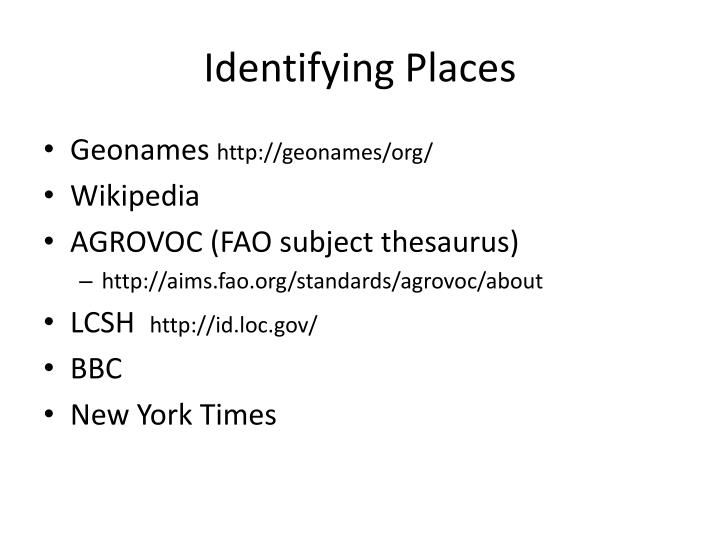 Identifying Places
