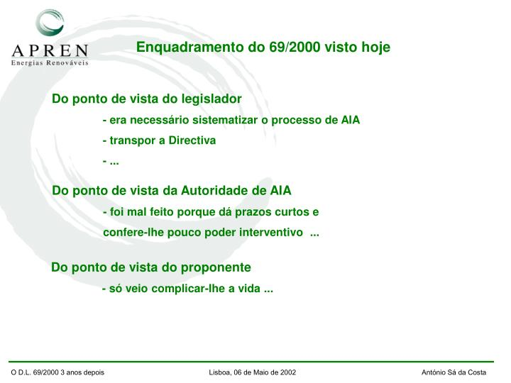 O D.L. 69/2000 3 anos depois                          Lisboa, 06 de Maio de 2002         António Sá da Costa