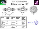 can a reasonable b field confine ff