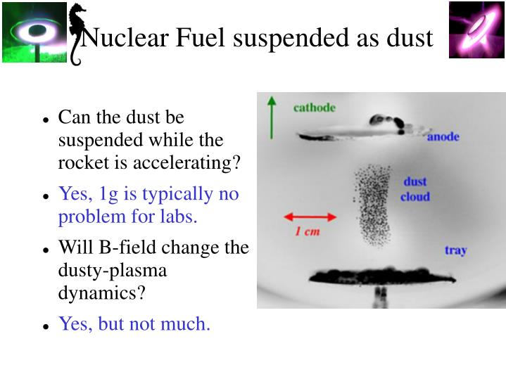 Nuclear Fuel suspended as dust