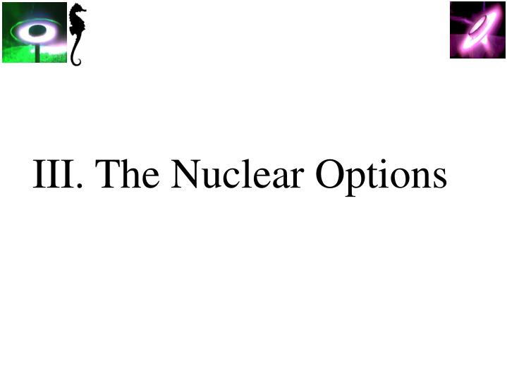 III. The Nuclear Options