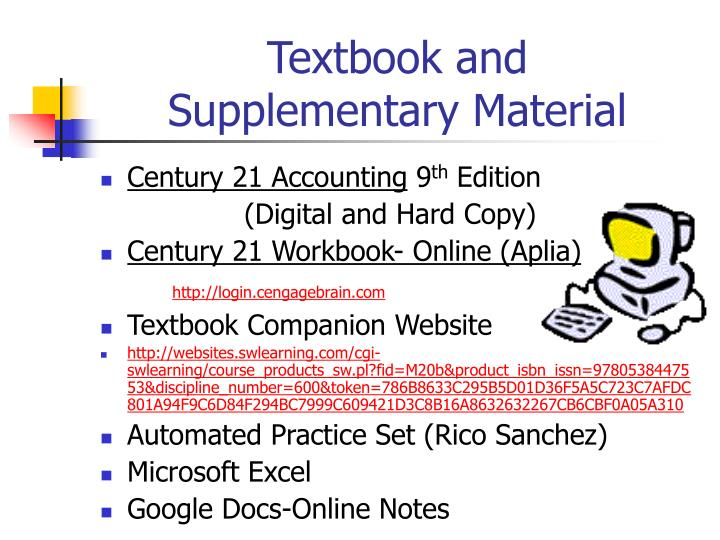 Textbook and supplementary material