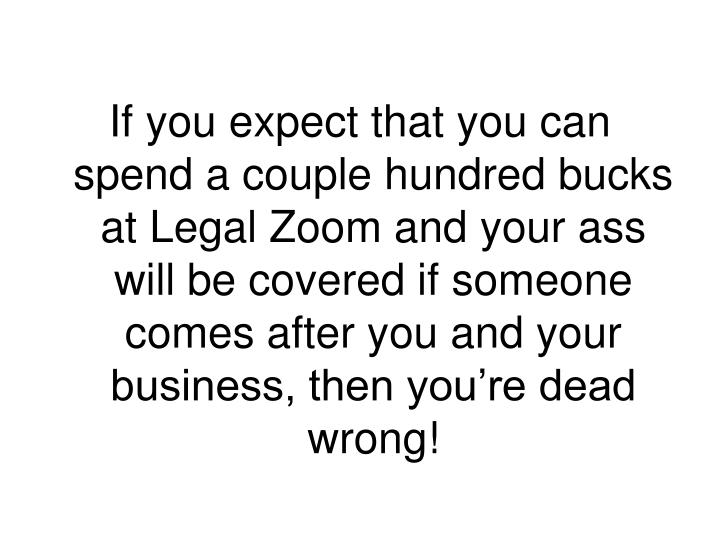If you expect that you can spend a couple hundred bucks at Legal Zoom and your ass will be covered if someone comes after you and your business, then you're dead wrong!