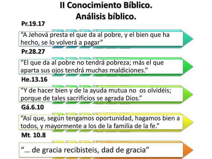 II Conocimiento Bíblico.