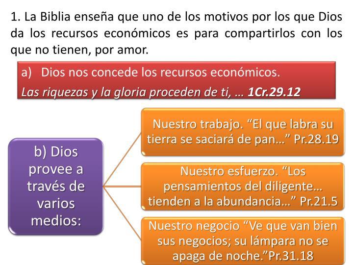 1. La Biblia enseña que uno de los motivos por los que Dios da los recursos económicos es para compartirlos con los que no tienen, por amor.