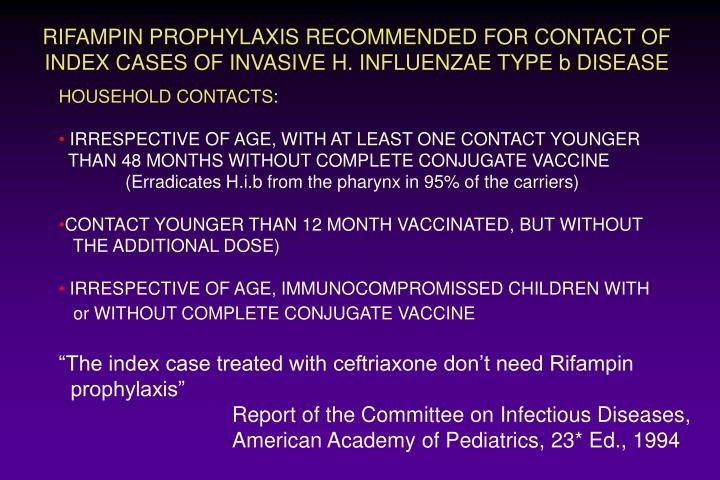 RIFAMPIN PROPHYLAXIS RECOMMENDED FOR CONTACT OF INDEX CASES OF INVASIVE H. INFLUENZAE TYPE b DISEASE